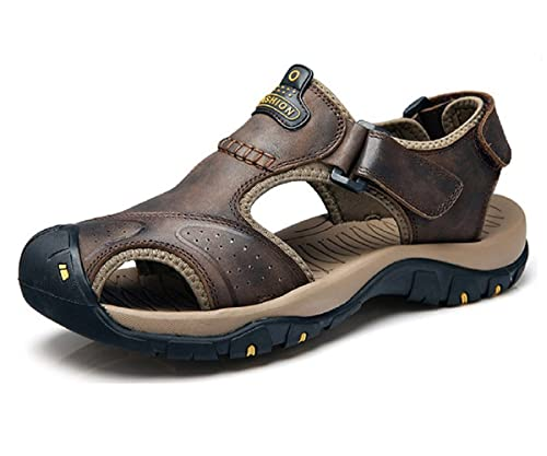 a6cf38b54936 T-Gold Mens Leather Walking Sandals Outdoor Closed-Toe Trekking Shoes(5 UK