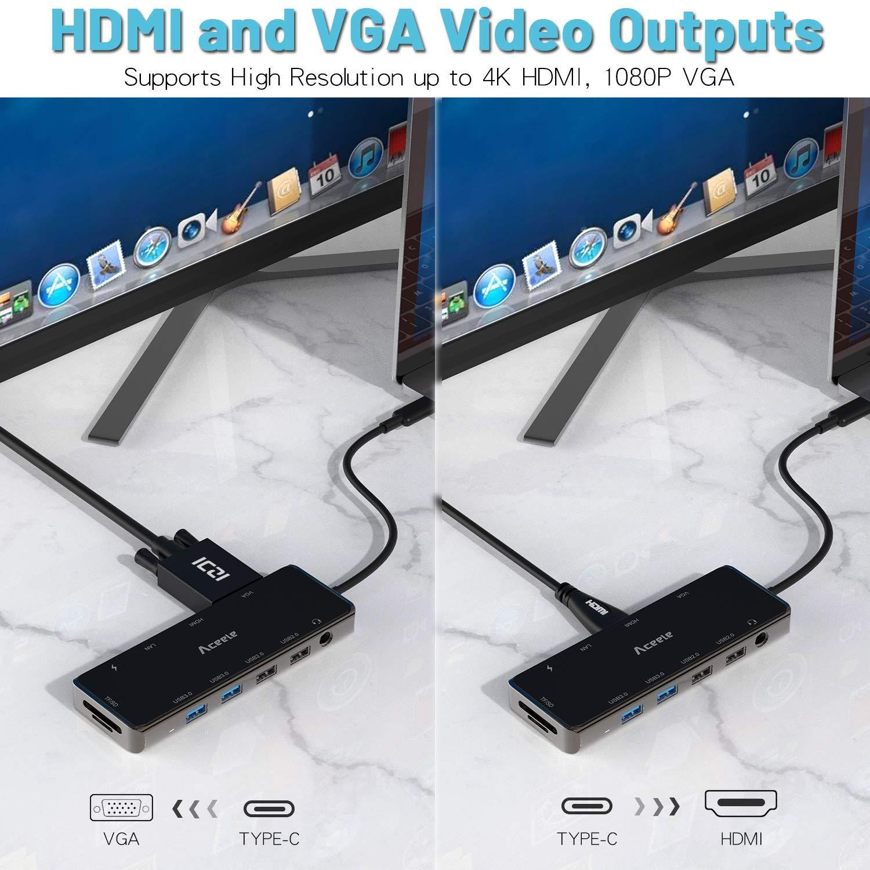 HDMI 4K VGA Lector de Tarjetas SD//TF para iPad Pro 2018 Gigabit Ethernet Macbook Pro 2018 DELL XPS 15 y m/ás Aceele Hub USB C Hub multifunci/ón Tipo C 10 en 1 con 4 Puertos USB 3.0 PD Tipo C