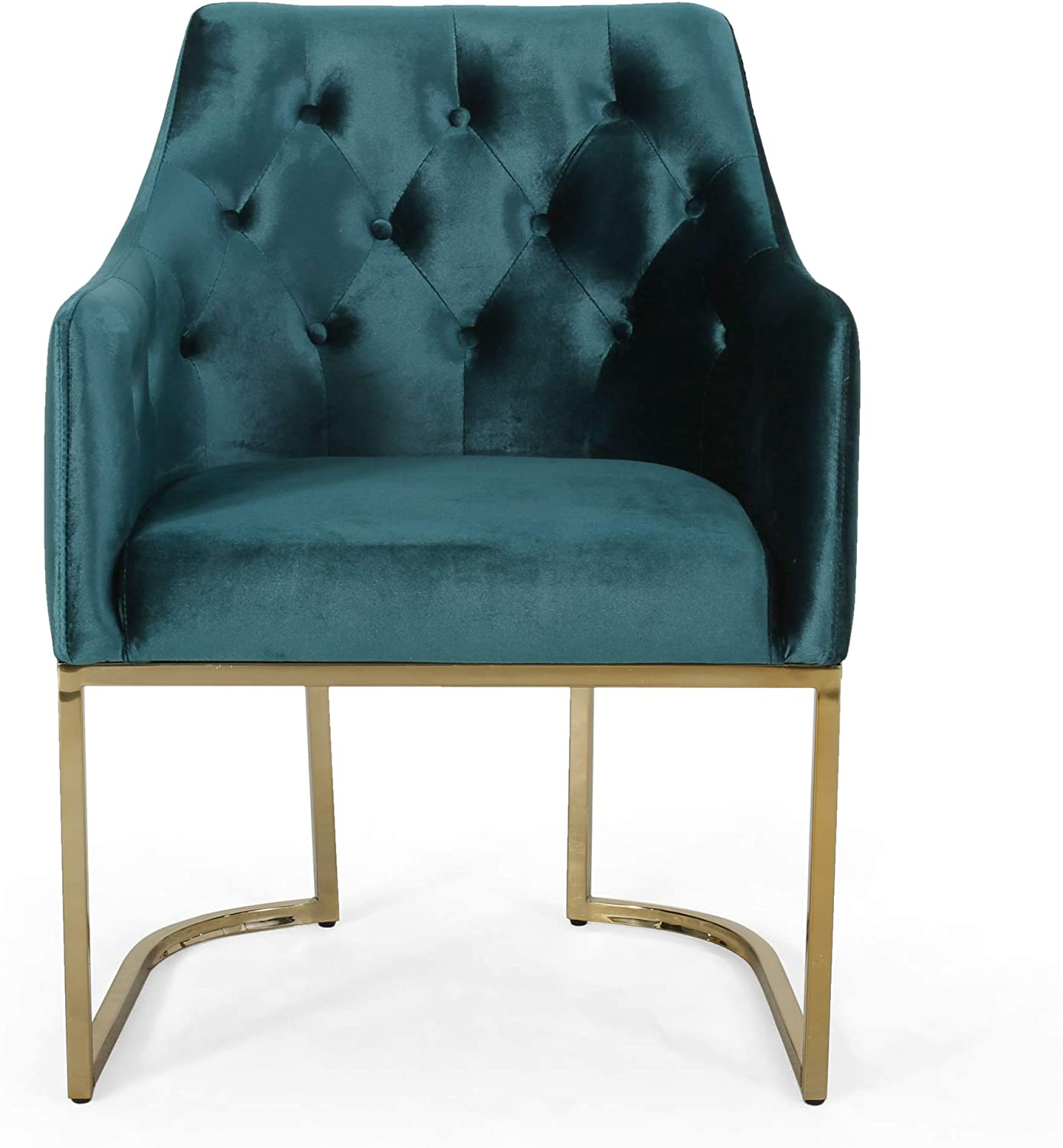 Christopher Knight Home Fern Modern Tufted Glam Accent Chair with Velvet Cushions and U-Shaped Base, Teal Finish, Black, Rose Gold