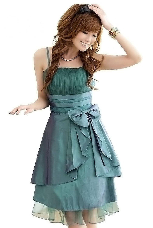 Zarlena Damen Kleid Cocktail-Chiffon-Kleid Abendkleid Ballkleid Grün ...