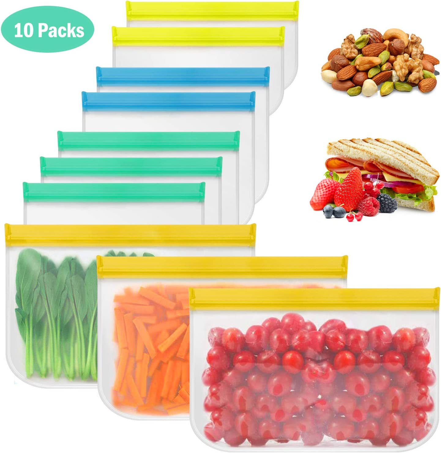 Henscoqi 10 Pack Reusable Storage Bags-BPA Free Reusable Gallon Bags Leakproof Sandwich Bags Ziplock Freezer Snack Lunch Bags for Vegetables Fruit Cereal, Baby/Pet Food, Travel Items, Home Organize
