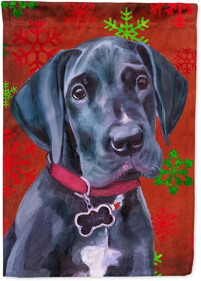 Caroline's Treasures LH9579GF Black Great Dane Puppy Red Snowflakes Holiday Christmas Flag Garden Size, Small, Multicolor