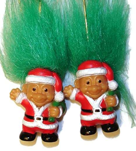 Amazon Com Russ Santa Troll Doll Earrings W Green Hair Holiday 1