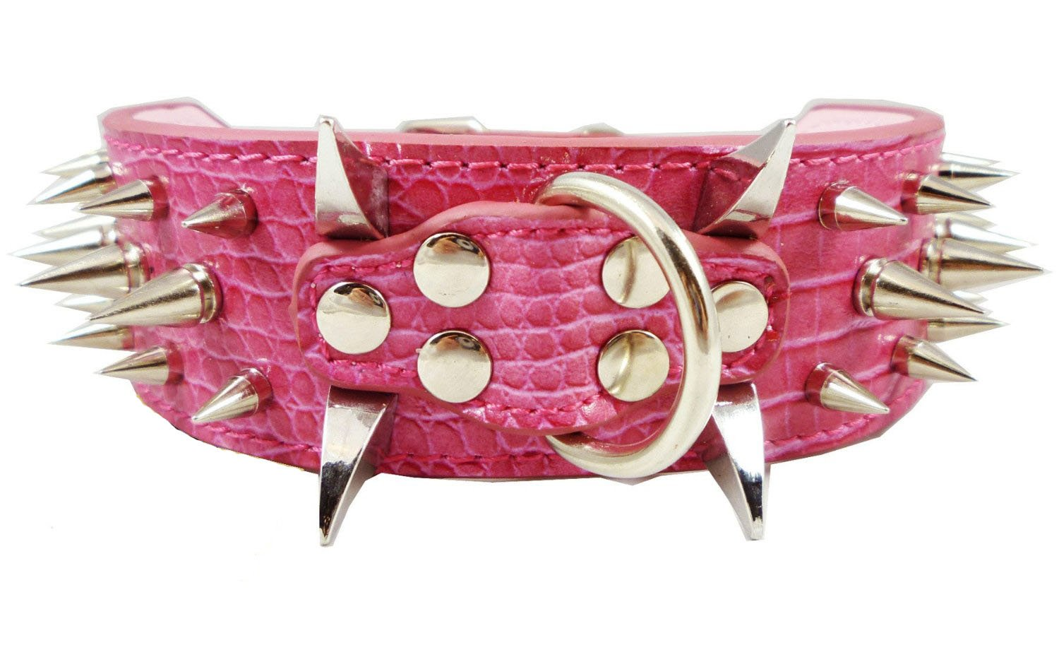 Benala Dog Pet Collars Pu Leather Rivet Spiked Adjustable Dog Collar Buckle Neck Strap Studded Dog Collars Pet Accessories Pit Bull, Boxer, Bull Terrier,Pink,S