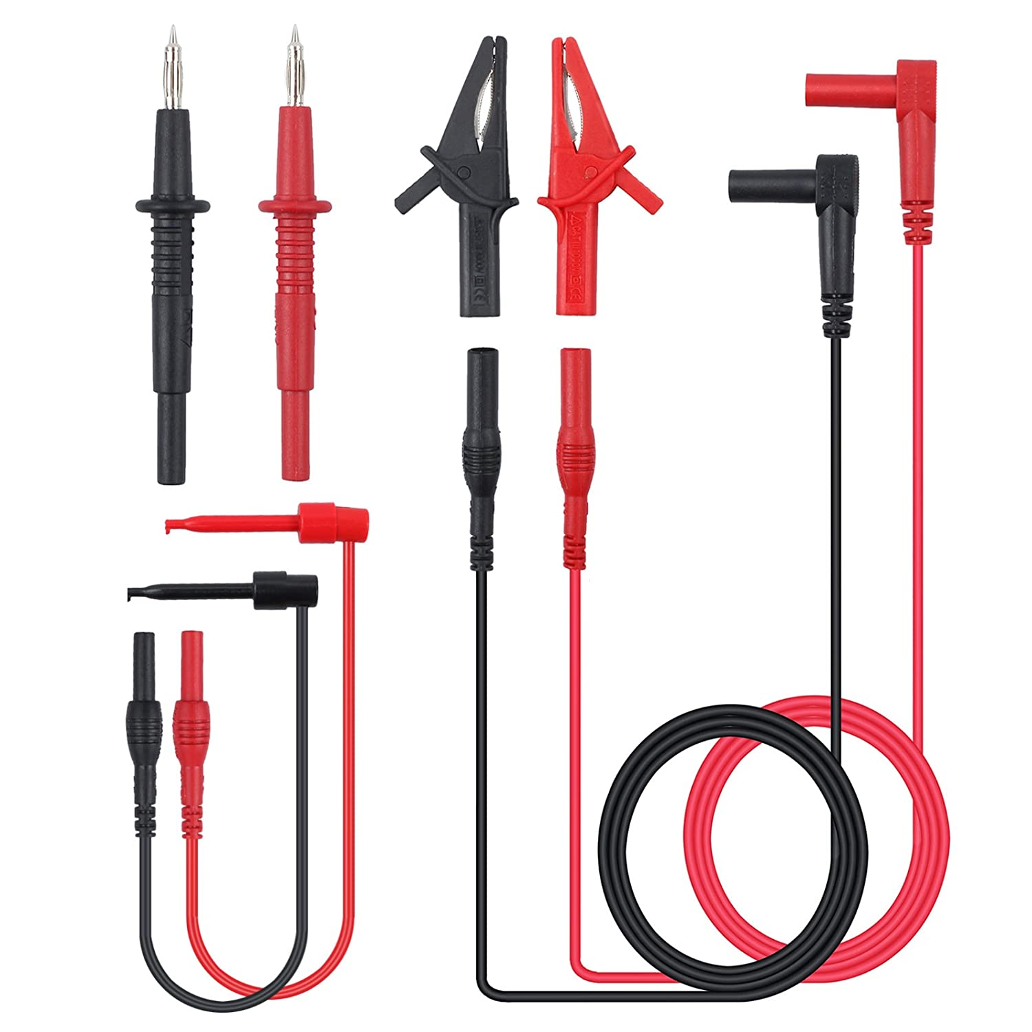 Justech 8-Pieces Multimeter Test Lead Kit Professional Electronic Test Lead Accessory Kit Includes Lead Extensions Test Probes Mini Hooks Alligator Clips for School Laboratory Factory and other Social Fields