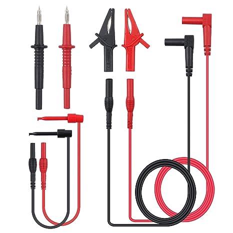 Justech 8 Piezas Kit de Sonda de Prueba del Multímetro Incluye Extensiones de Plomo Sondas de ...