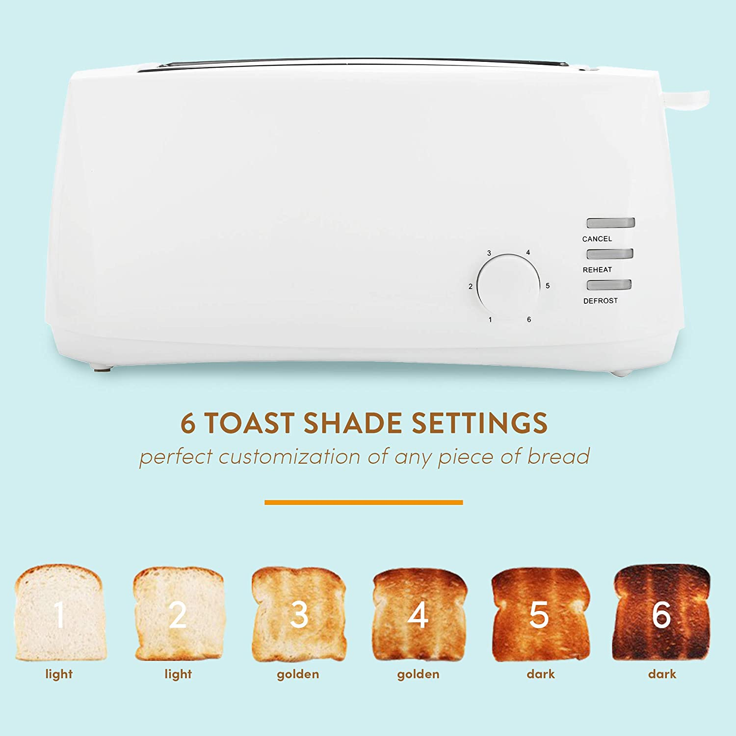 """Elite Cuisine ECT-4829 Long Cool Touch 4-Slice Toaster with Extra Wide 1.25/"""" ..."""