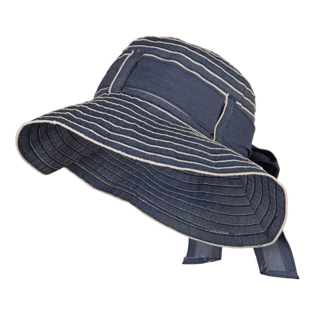 Vintage Crushable Ribbon Tie Bucket Hat - Denim OSFM