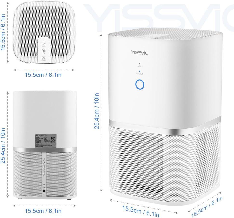 yissvic purificador de aire 5 etapes de filtración con filtro HEPA filtro de carbón filtro antialérgica purificador aire casa con función de iones negativos mesa para cámara: Amazon.es: Bricolaje y herramientas