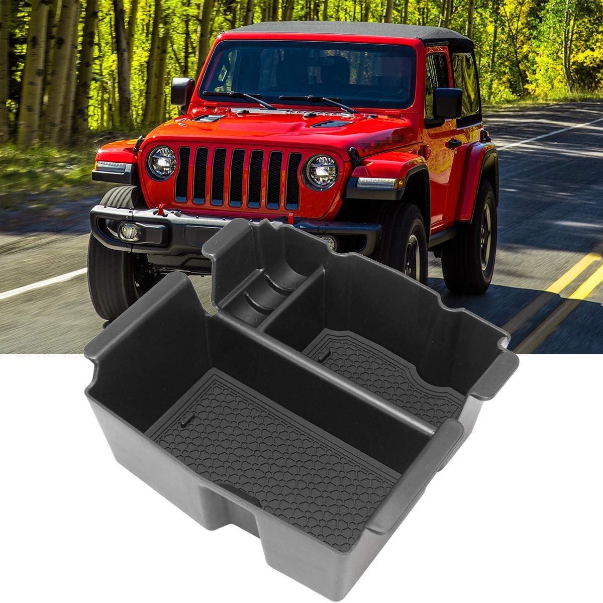Littou Mittelkonsole Armlehne Aufbewahrungsbox Handschuh Box Einsatz Organizer Tablett Kompatibel Für Wrangler Jl 2018 2019 Auto