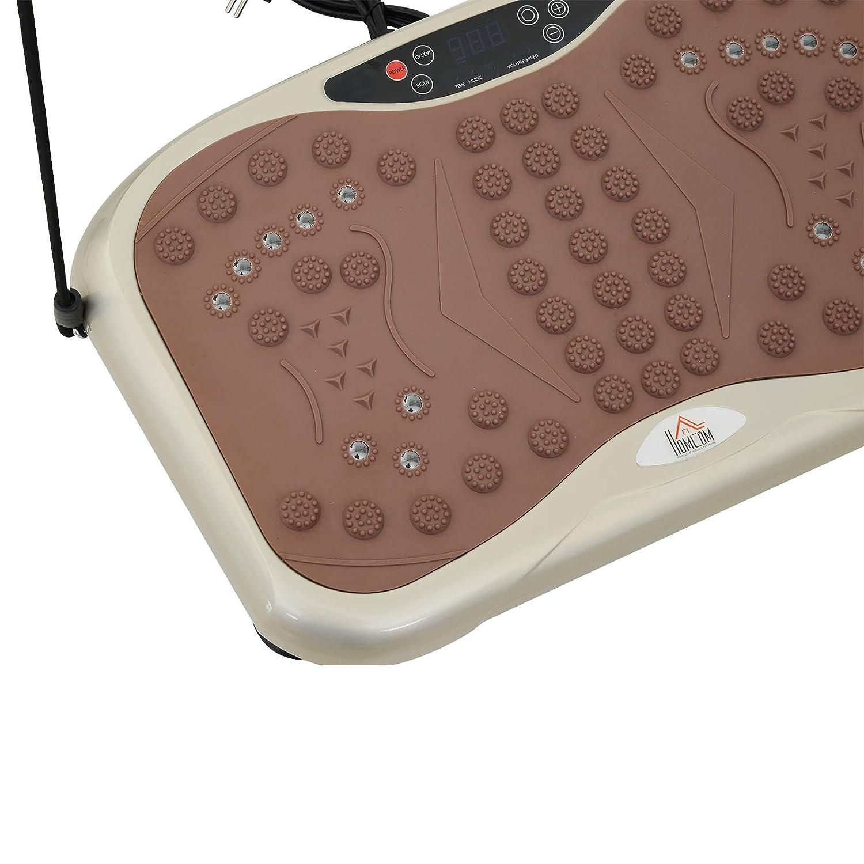 HOMCOM Vibrationsplatte Vibrationstrainer Vibrationsger/ät Fitnesstrainer LED-Anzeige USB-Lautsprecher Trainingsb/änder Fernbedienung