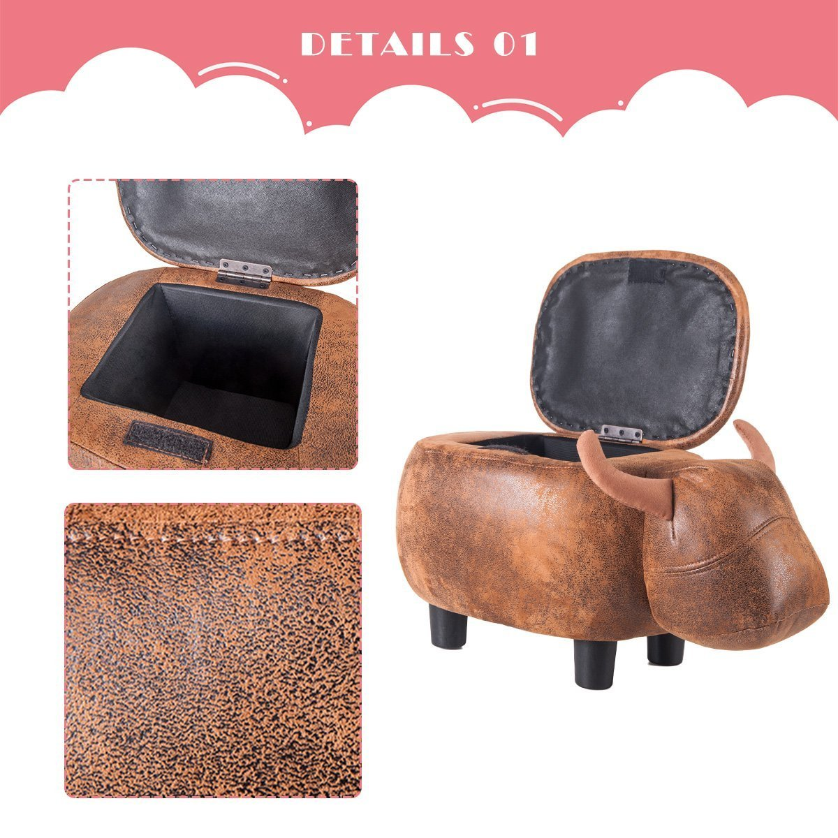 Merax Have-Fun Series Upholstered Ride-on Storage Ottoman Footrest Stool with Vivid Adorable Animal Shape (Brown Buffalo) by Merax (Image #5)