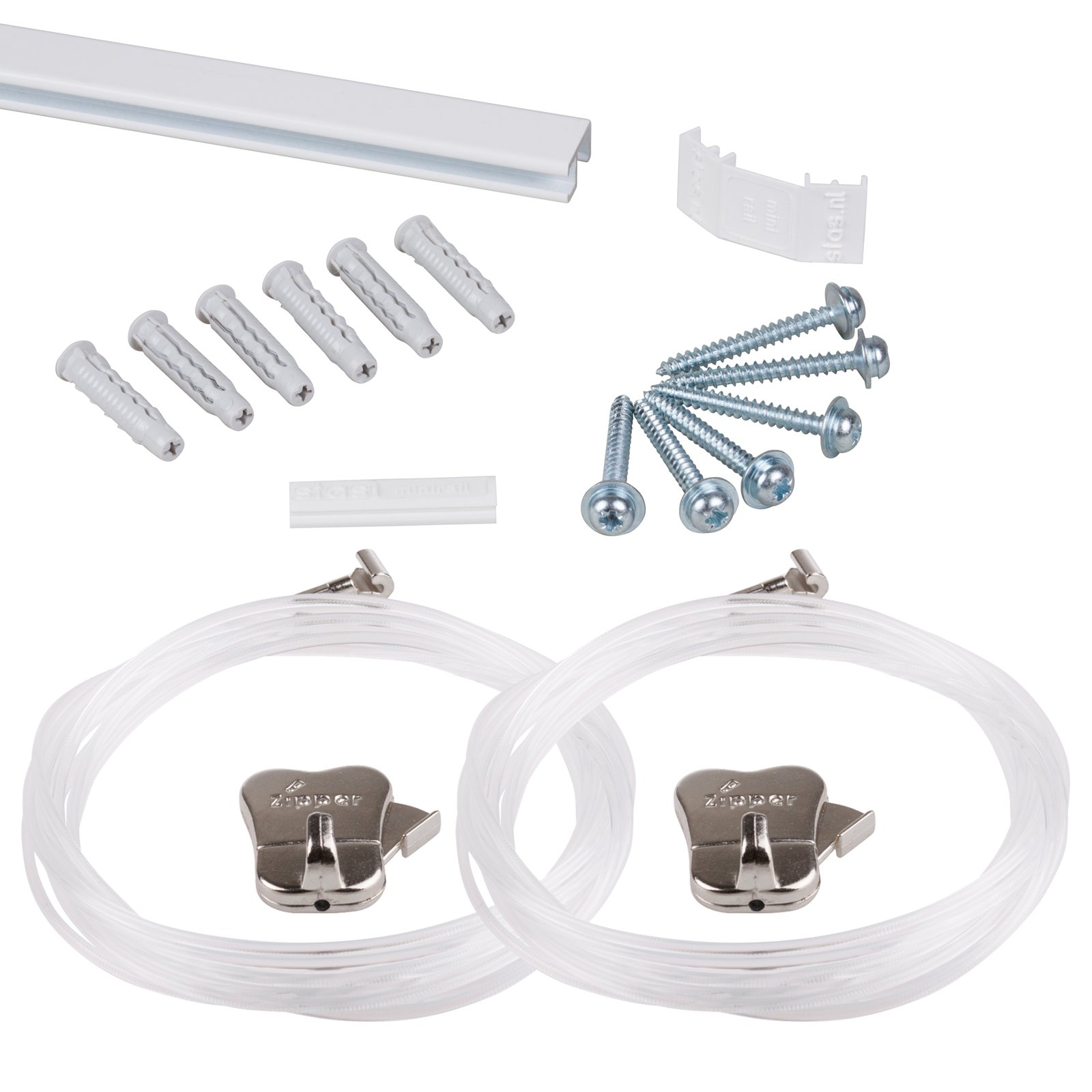 STAS Picture Hanging System minirail White 150 cm - Complete kit, incl. 2 Cords 150cm with Hooks