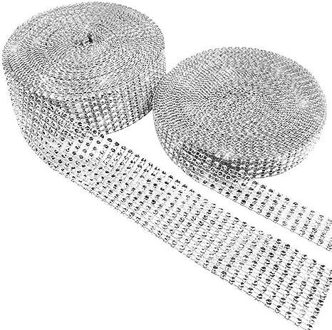 Rhinestone Ribbon 6 Row 10 Yard Diamond Sparkling Mesh Tape Decoration