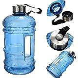 Herryjk 2.2リットルプレミアム品質ウォーターボトル、余分な強くて丈夫な、シリコンシール付きBPAフリー、ステンレススチールキャップ - ジム、プレワークアウト、減量、ボディービルディング、アウトドアスポーツ、ハイキング、オフィス用の飲み物用容器ジャンク