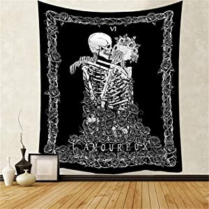 Skull Tapestry Kissing Lovers Skeleton Tapestry Wall Hanging Black Tarot Tapestry for Wall Starry Tapestry Hippie Psychedelic Wall Decor for Dorm Bedroom Living Room 30x40 inch by GREENPURE