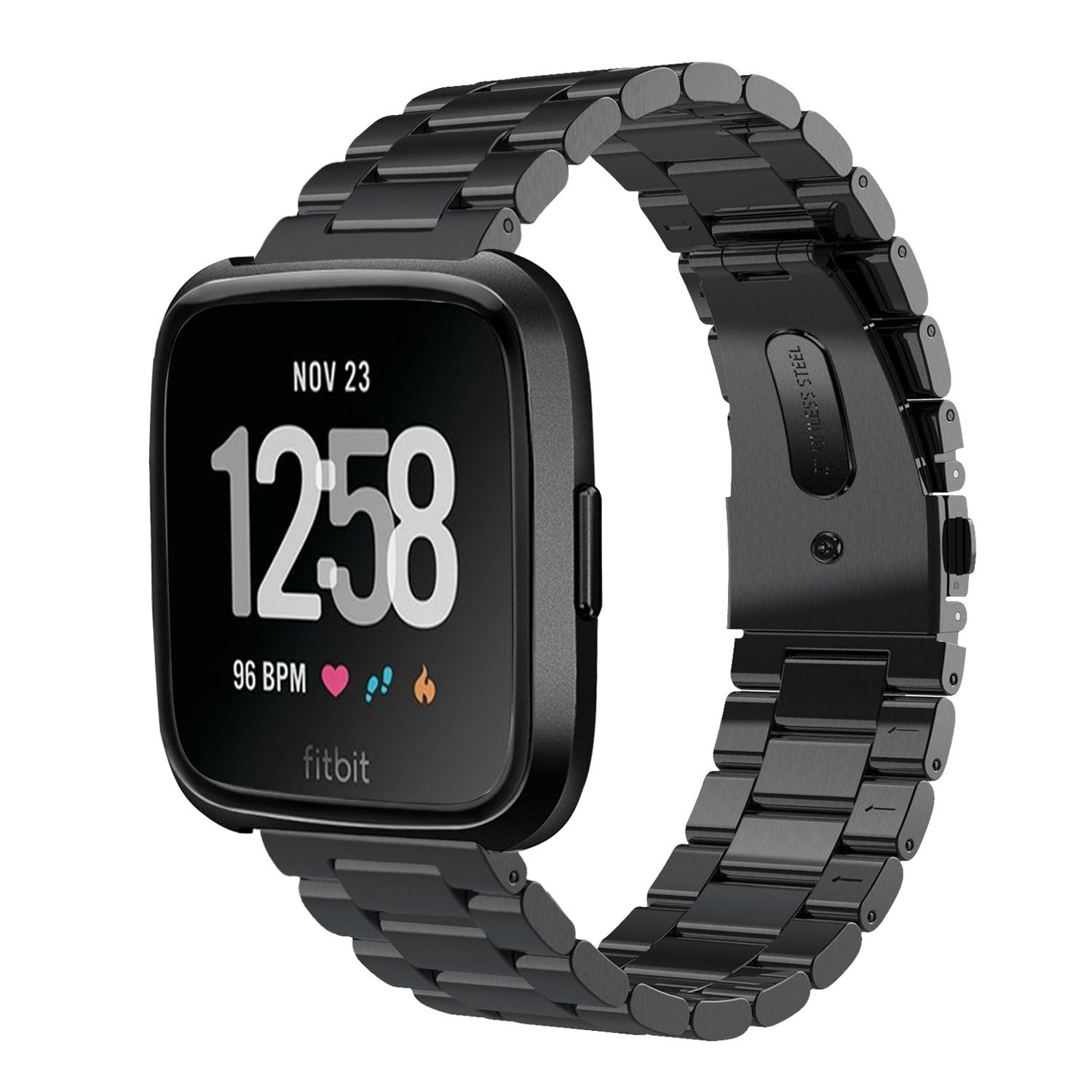 Fitbit Versa Band, VIGOSS Solid Black Stainless Steel Fitbit Versa Metal Bands Strap Men Women Replacement Bracelet Accessories Wristband for Fitbit Versa SmartWatch Large Small 5.5''-8.2''(Metal Black)