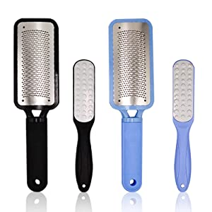 Foot Scrubber Callus Remover Foot File Coarse Feet Files Rasp Foot Grater Pedicure Tools Heel Rasp Scrubber Shaver Dead Skin Remover Exfoliator for Wet and Dry Feet, Black and Blue, 4 Pack