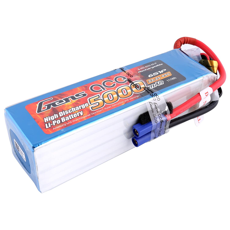 Gens ace LiPo batteria 5000mAh 22.2V 45C 6S batteria ricaricabile per Align GAUI KDS ElyQ Trex-550 600 airplane Jet boat