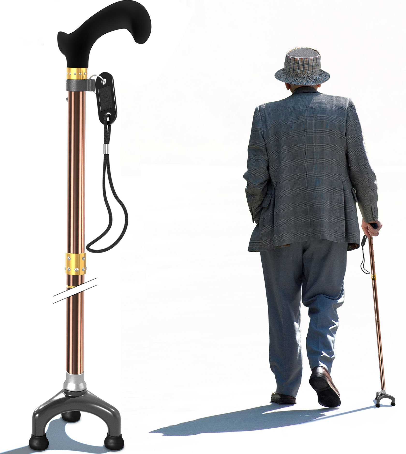 Bago Walking Cane for Men & Women - Folding Stick with Ergonomic Handle and Pivot Tripod Tips - Travel with These Adjustable Canes and Walking Sticks - Pack Small, LightweightCollapsible (Champ)