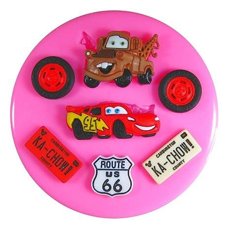 Lightning McQueen Mater Cars Molde de silicona para la torta de Decoración Pastel de Cupcake Toppers