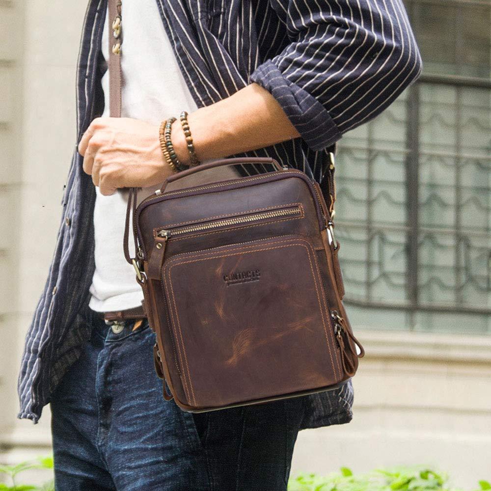 LIULIU Hobo vinskörd-man-axelväska, multifunktionell män liten vertikal läder-oxläder Messenger Bag Outdoor Sports vintage axel Crossbody väska BRUN