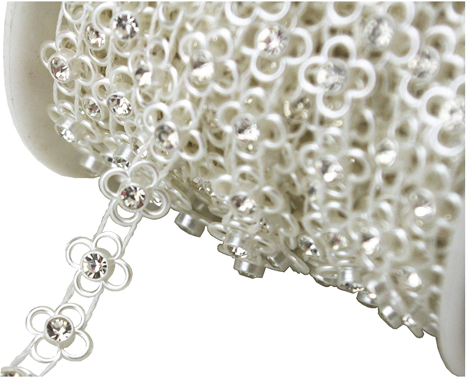 LZ118 AEAOA 8mm Ivory Pearl and Rhinestone Chain Sewing Trims Cake Decoration