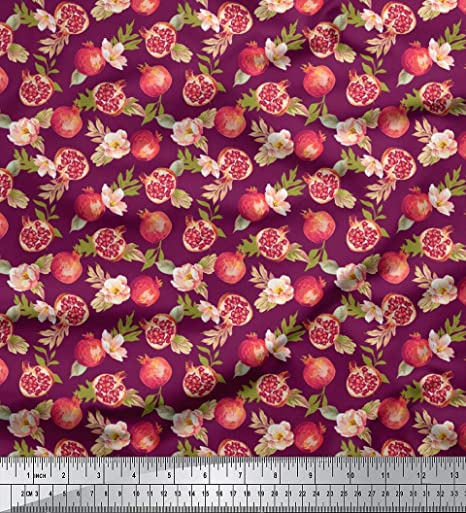 Soimoi Pink Cotton Cambric Fabric Peach Floral /& Pineapple Fruits Print Fabric by metre 42 Inch Wide