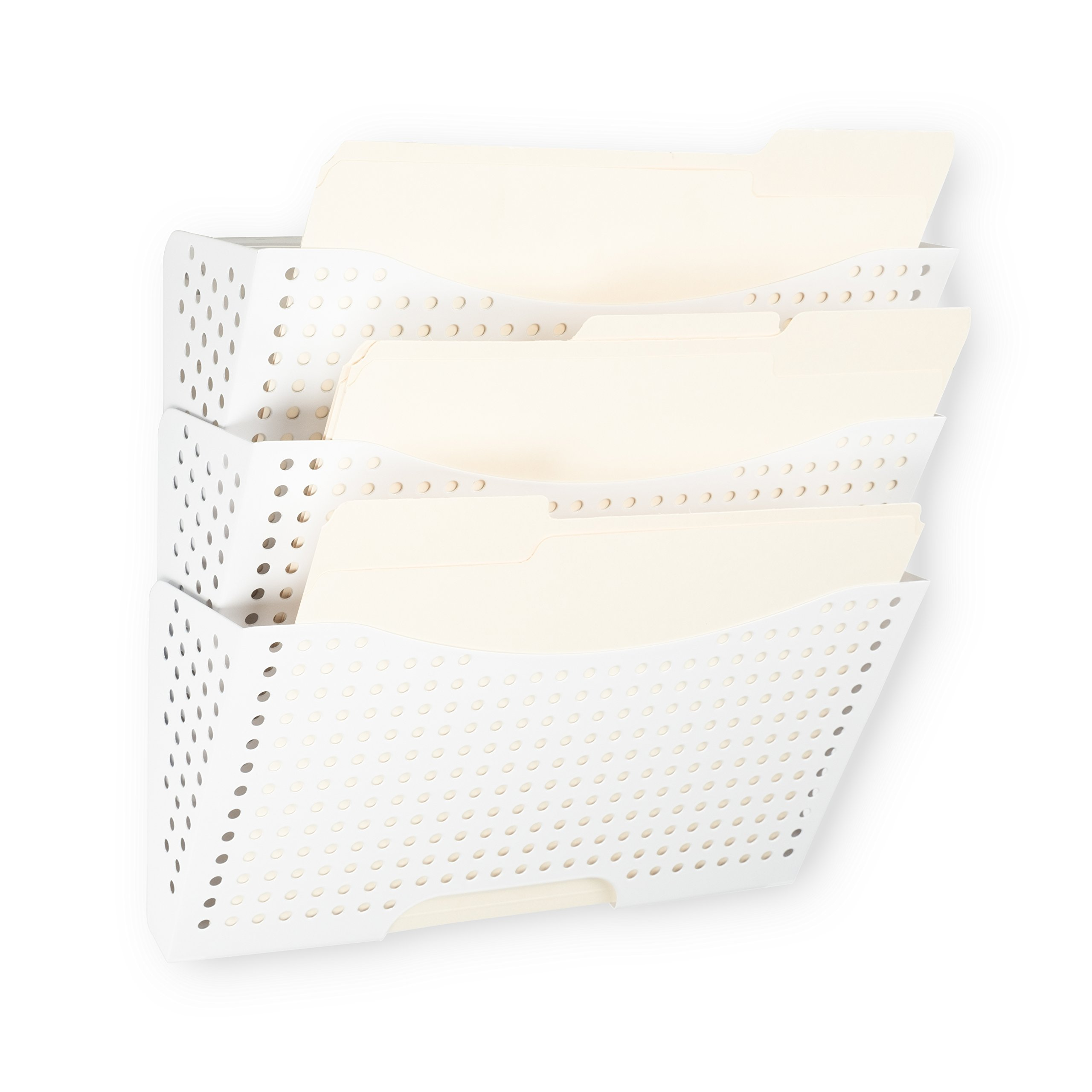 Wallniture Lisbon Wall Mount File Holder Organizer Metal Modern Modular Design Metal Storage Level Folders White Steel Durable Construction (3 Pack) by Wallniture (Image #2)
