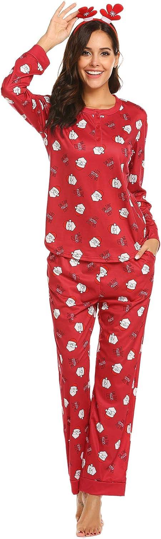 Ekouaer Pajama Set Women Christmas Pajamas Long Sleeve PJ Set Printed Holiday Sleepwear S-XXL