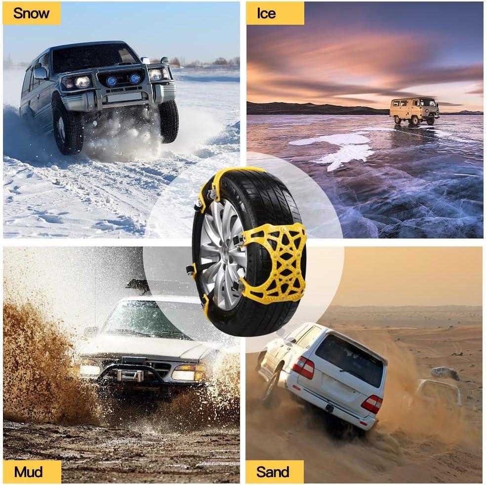 soyond Snow Chains Car Anti Slip Snow Tire Chains Adjustable Anti-Skid Chains Car Tire Snow Chains for Car//SUV//Trucks