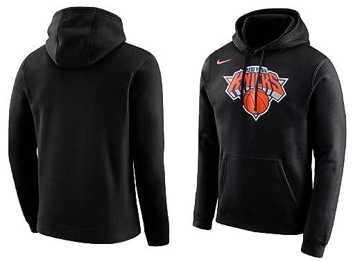 c84b0c47c14e Nike Men s New York Knicks Fleece Pullover Hoodie Black Orange White  881151-010