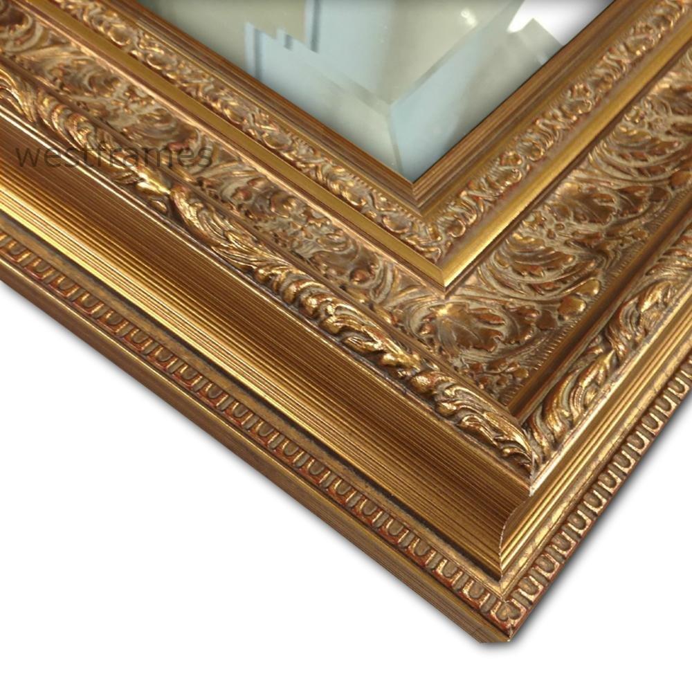 """West Frames Elegance Ornate Embossed Wood Framed Wall Mirror (31"""" x 43"""", Antique Gold)"""