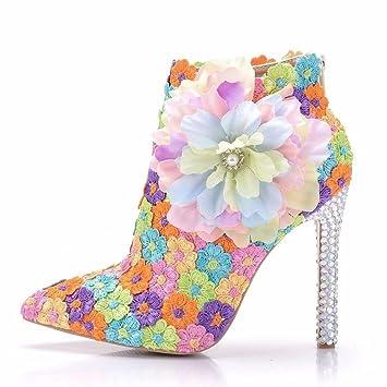 GAIHU Señoras mujer sola Botines Zapatos de novia boda flor de encaje de color vestidos noche