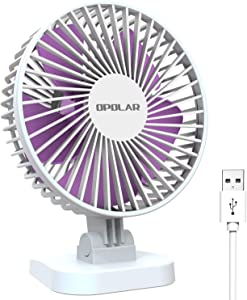 4 Inch Mini USB Desk Fan with 3 Setting, Small Personal Quiet Fan with Strong Airflow & Low Noise, Adjustable Tilt Angle, Perfect Portable Cooling Fan for Desktop Office -3.9 feet Cord (White)