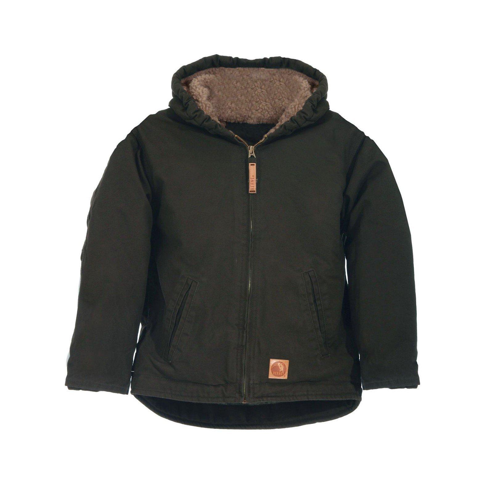 Berne Apparel BHJ42 Boy's Sanded Hooded Coat Sherpa Lined Olive Duck Large