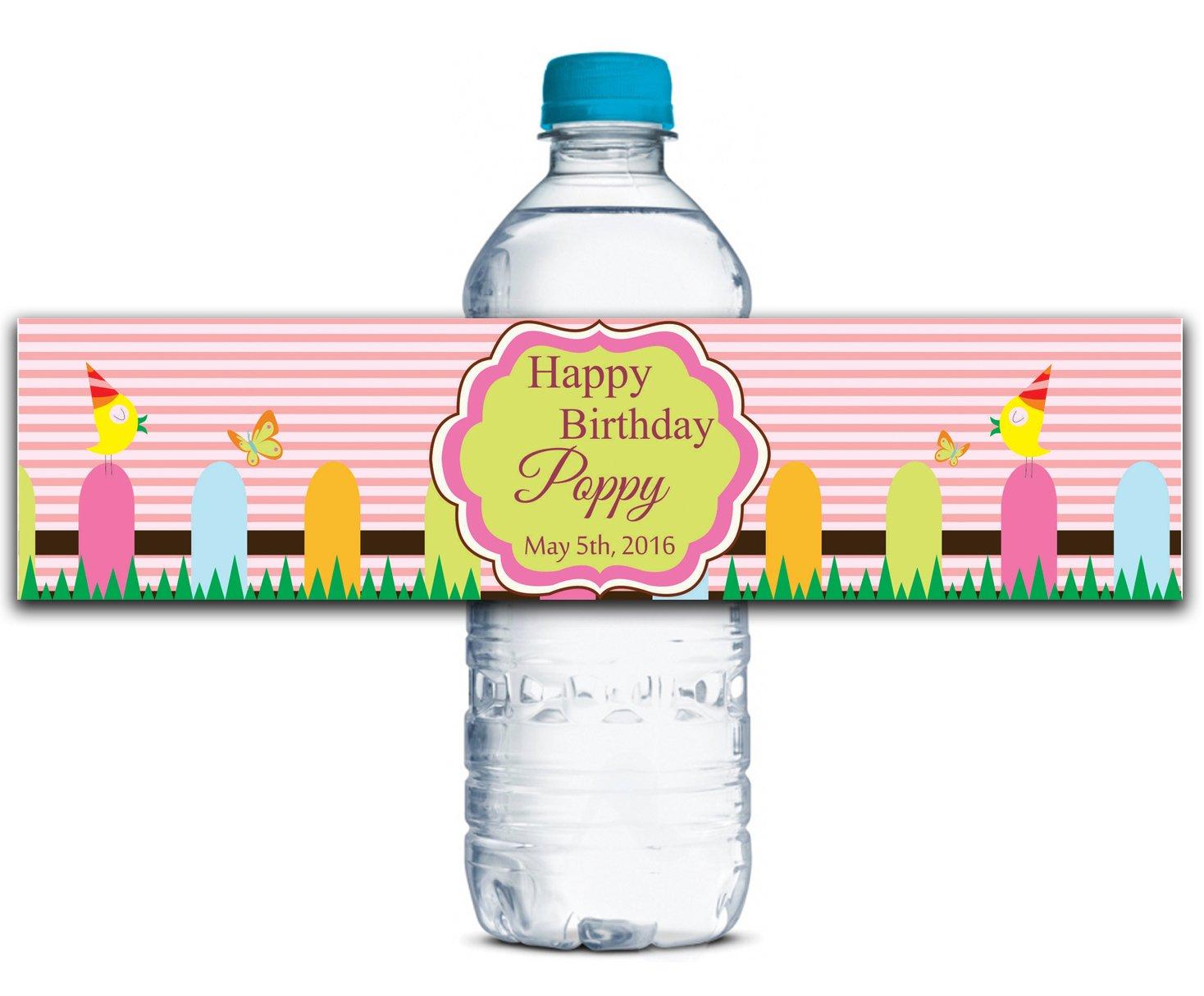 Kundenspezifische Geburtstags-Aufkleber Personalisierte Wasserflasche Etiketten Selbstklebende wasserdichte 8  x 2  Zoll - 50 Etiketten B01A0W4Z1M | Verbraucher zuerst