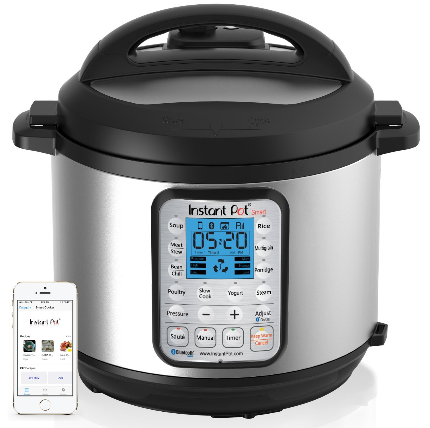 Instant Pot Smart Bluetooth 6 Qt 7-in-1 Multi-Use Programmable Pressure Cooker, Slow Cooker, Rice Cooker, Yogurt Maker, Sauté, Steamer, and Warmer (Product Discontinued) product image