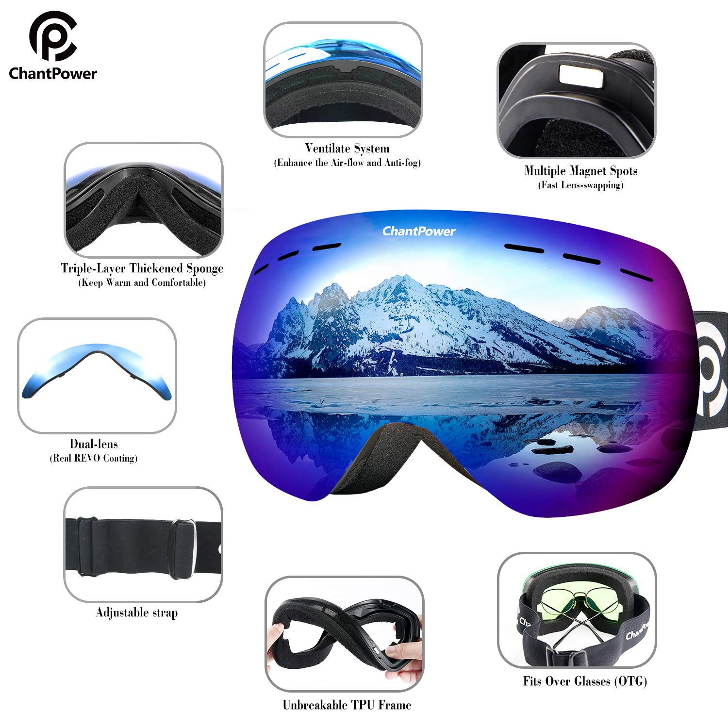 157f20524a3 2 Lenses Included ChantPower Ski Goggles Frameless Magnetic Snowboard  Goggles 2 Seconds Quick Interchangeable Spherical Lenses ...
