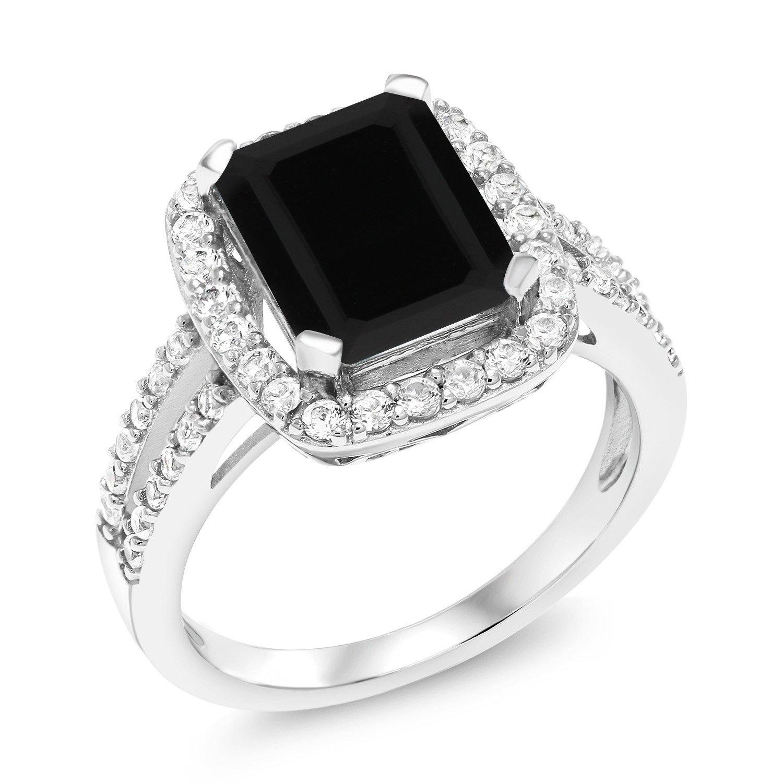 3.75 Ct Emerald Cut Black Onyx 925 Sterling Silver Women's Ring