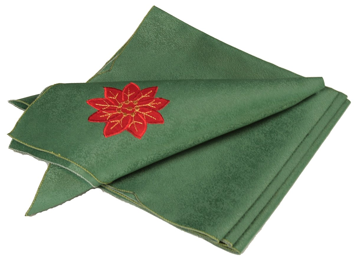 Xia Home Fashions 4-Pack Holly Leaf Poinsettia Embroidered Cutwork Christmas Napkins, 21-Inch by 21-Inch