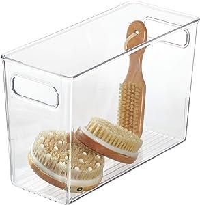 "iDesign Linus BPA-Free Plastic Deep Kitchen Storage Bin with Handles, 12"" x 5"" x 7.75"", Clear"