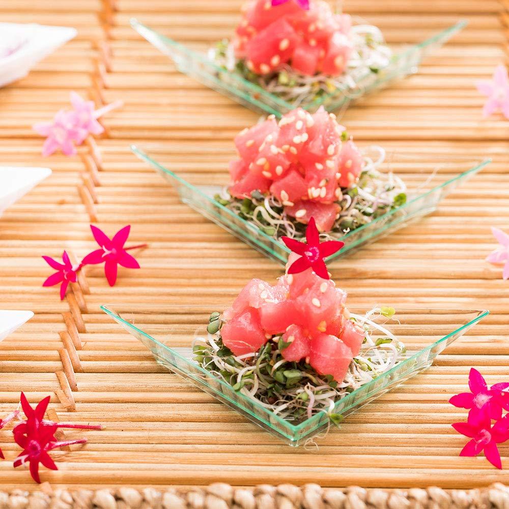 Triangle Appetizer Plate Desserts 4 More in a Unique Shape 100ct Box Seagreen Mini Triangular Plate Restaurantware Samples