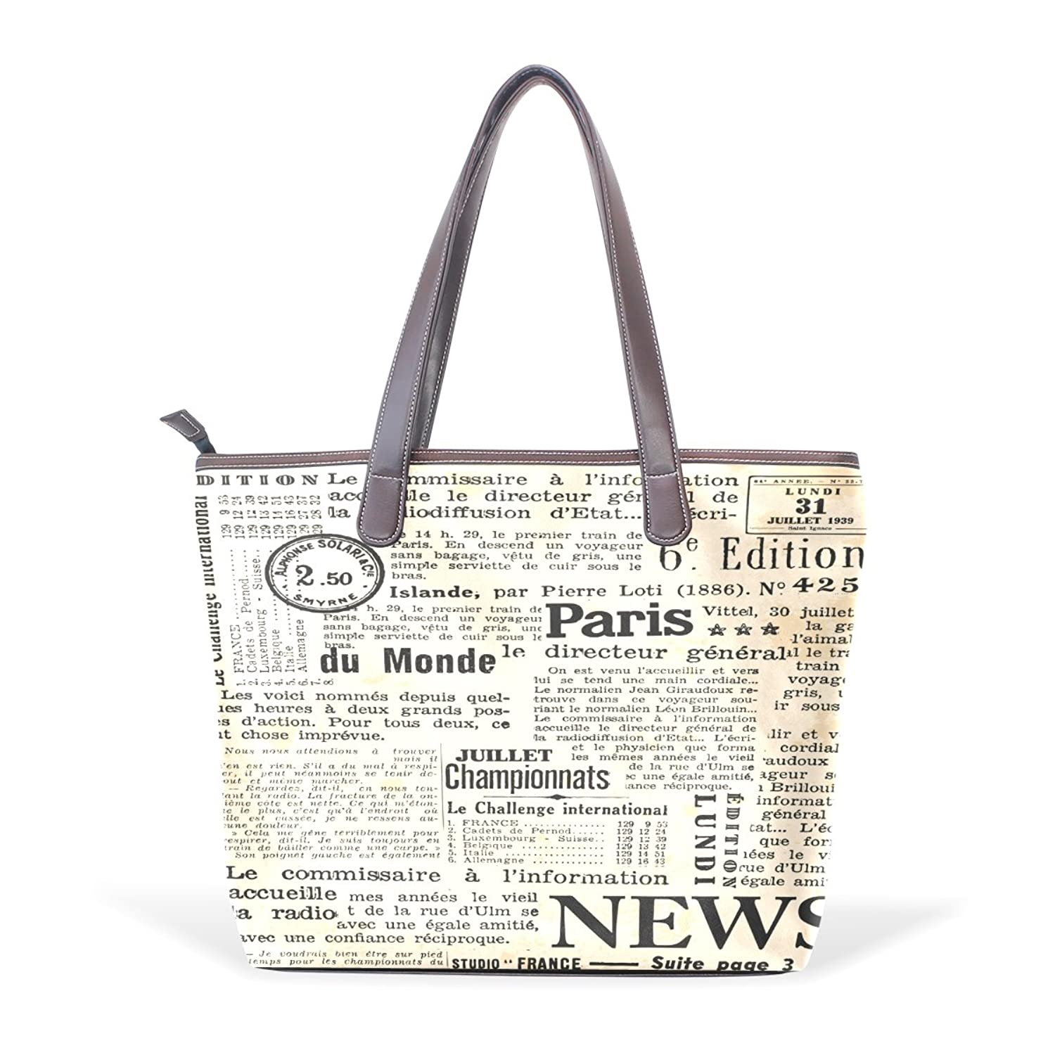 BYouLockX Yellowing Newspaper Pattern Leather Handbags Satchel ShoulderBag for Women