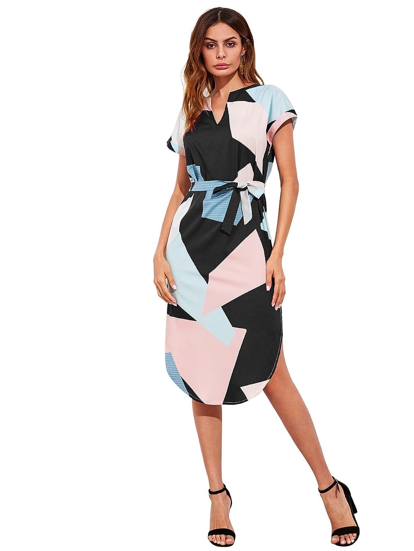 MAKEMECHIC Women s V Neck Geometric Print Colorblock Slit Belted Midi Dress  at Amazon Women s Clothing store  5744fa403