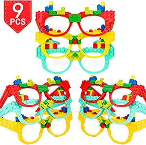PROLOSO Building Block Brick Glasses DIY Educational Toys Party Supplies Pack of 9
