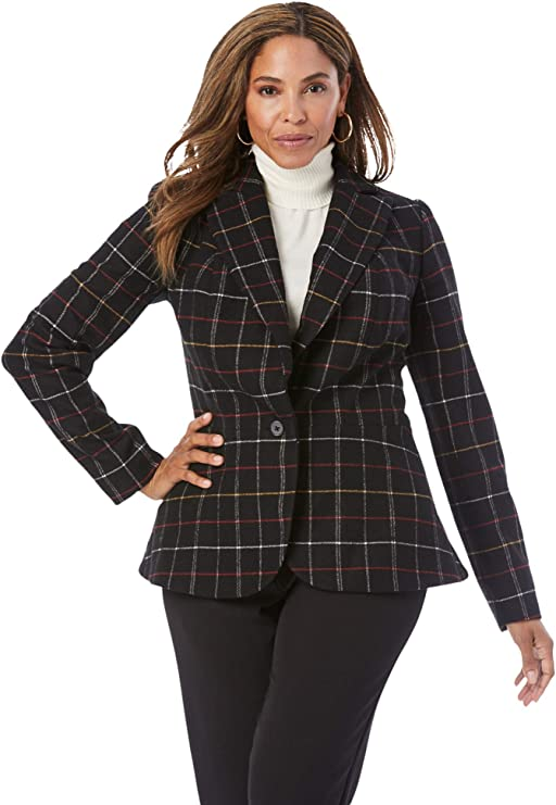1930s Style Clothing and Fashion Jessica London Womens Plus Size Wool-Blend Peplum Blazer Jacket $85.11 AT vintagedancer.com