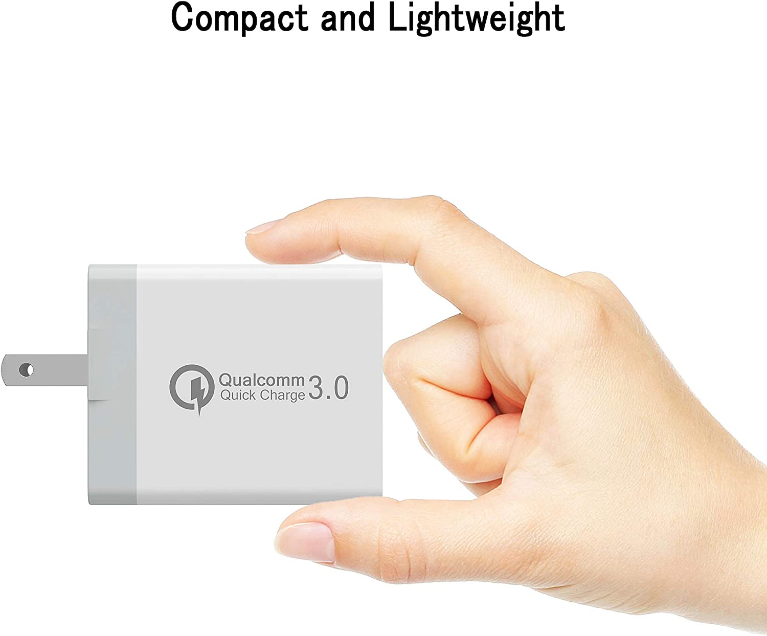 White Quick Wall Charger 30W Qualcomm 3-Port USB Travel Cell Phone Fast Charging Foldable Plug Smart IC Charger Power Adapter for iPhone and More