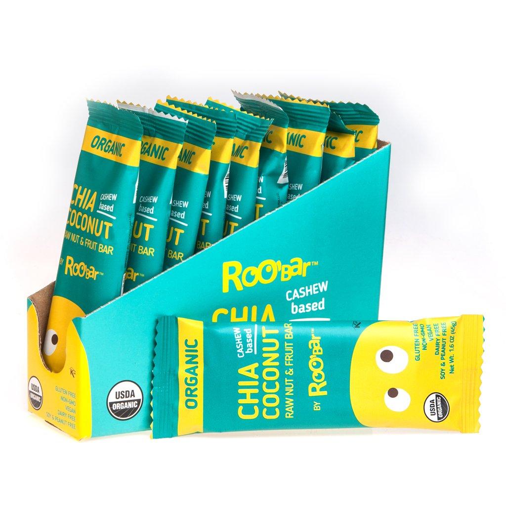 45g Chia Coconut Raw Organic Vegan Health Energy Bars - 12 Pack (Chia Coconut)