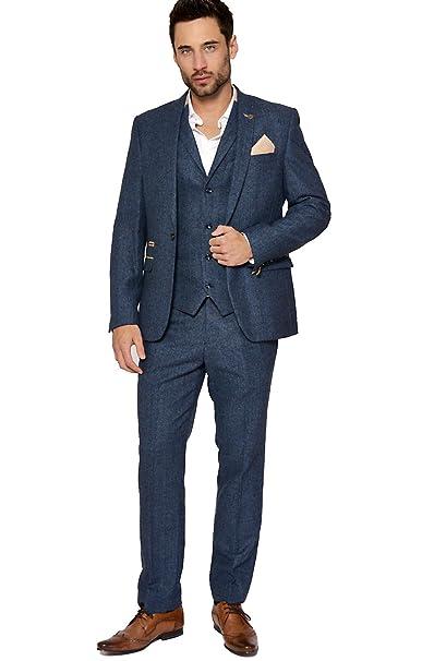 2019 real highly coveted range of reputation first Marc Darcy Men's Tweed Herringbone Check Blazer/Waistcoat in Blue
